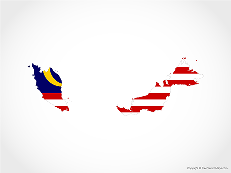 Free Vector Map of Malaysia - Flag
