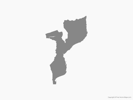 Free Vector Map of Mozambique - Single Color