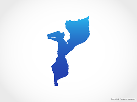 Free Vector Map of Mozambique - Blue