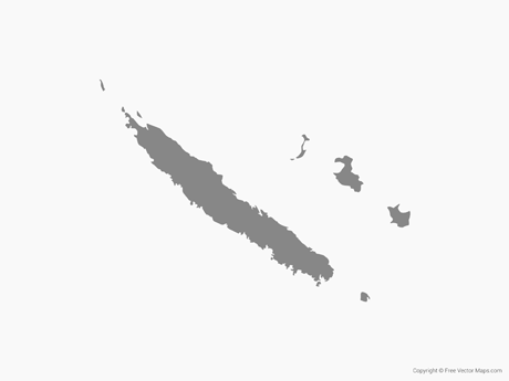 Free Vector Map of New Caledonia - Single Color