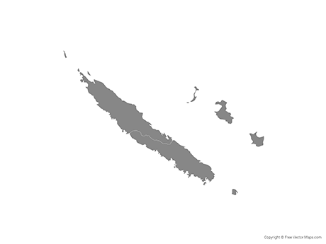 Free Vector Map of New Caledonia with Provinces - Single Color
