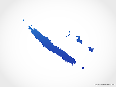 Free Vector Map of New Caledonia - Blue