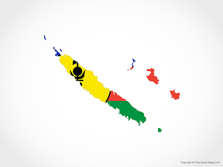 Free Vector Map of New Caledonia - Flag