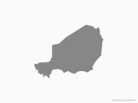 Free Vector Map of Niger - Single Color