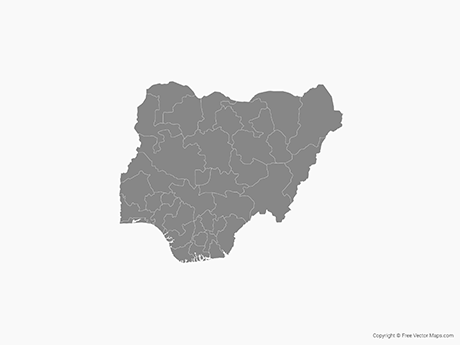Free Vector Map of Nigeria with States - Single Color