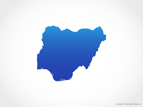 Free Vector Map of Nigeria - Blue