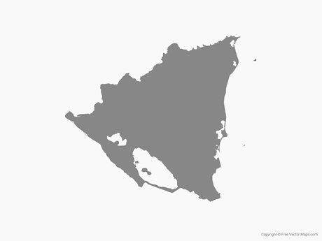 Free Vector Map of Nicaragua - Single Color