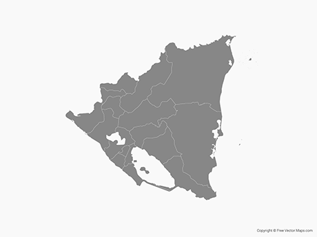 Free Vector Map of Nicaragua with Departments - Single Color