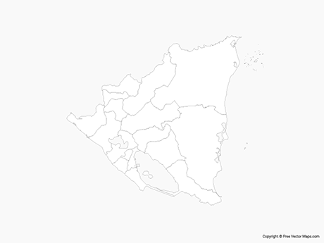 Free Vector Map of Nicaragua with Departments - Outline