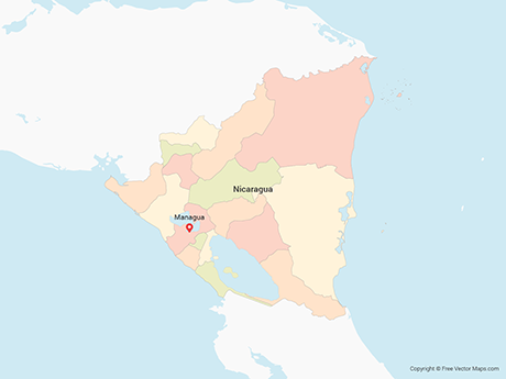 Free Vector Map of Nicaragua with Departments - Multicolor