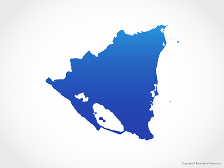 Free Vector Map of Nicaragua - Blue