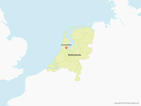 Free Vector Map of Netherlands with Provinces