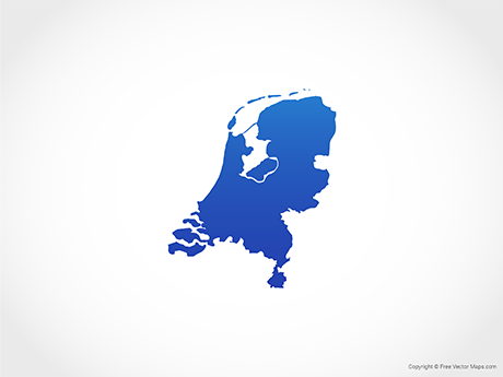 Free Vector Map of Netherlands - Blue