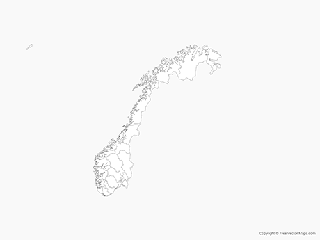 Free Vector Map of Norway with Counties - Outline