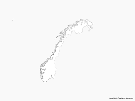 Free Vector Map of Norway - Outline