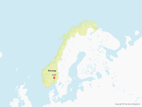 Free Vector Map of Norway with Counties