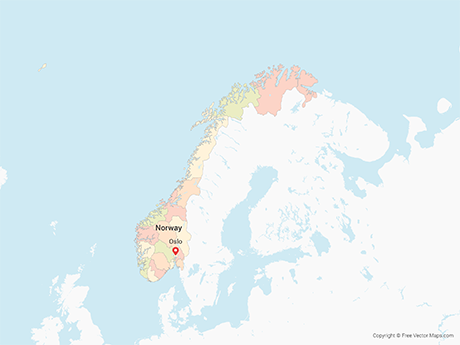 Free Vector Map of Norway with Counties - Multicolor