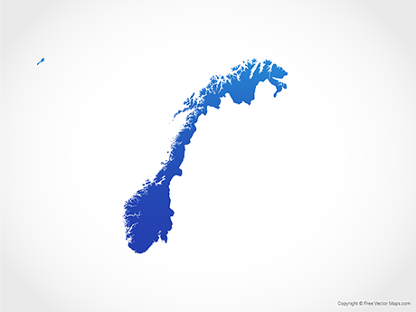 Free Vector Map of Norway - Blue