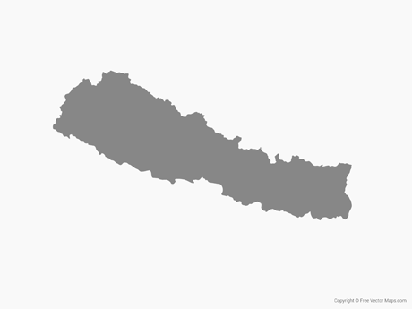 Free Vector Map of Nepal - Single Color