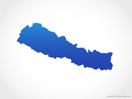 Free Vector Map of Nepal - Blue