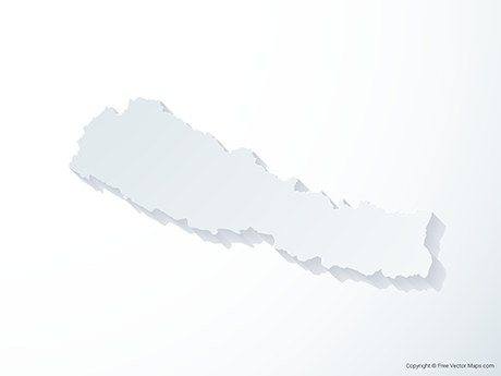 Free Vector Map of Nepal - 3D