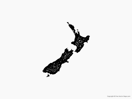 Free Vector Map of New Zealand - Stamp
