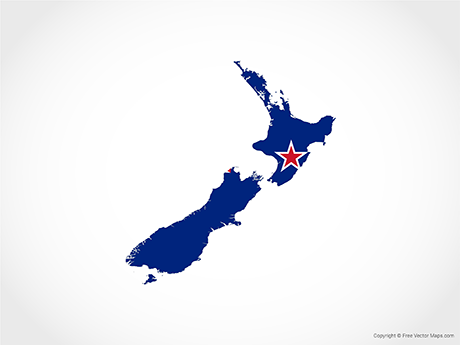 Free Vector Map of New Zealand - Flag