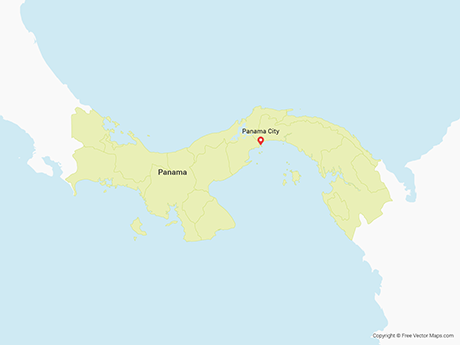 Free Vector Map of Panama with Provinces
