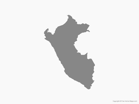 Free Vector Map of Peru - Single Color
