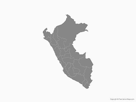 Free Vector Map of Peru with Regions - Single Color