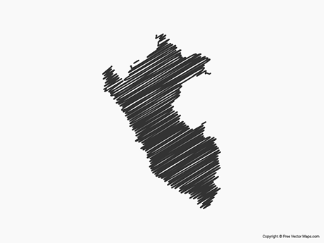 Free Vector Map of Peru - Sketch