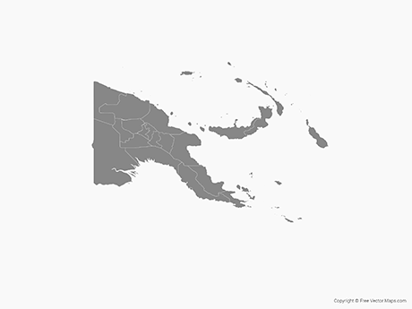 Free Vector Map of Papua New Guinea with Provinces - Single Color