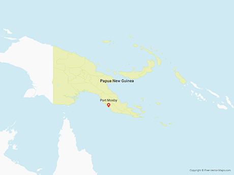 Free Vector Map of Papua New Guinea with Provinces