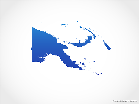 Free Vector Map of Papua New Guinea - Blue