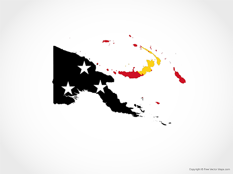 Map of Papua New Guinea - Flag