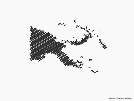 Free Vector Map of Papua New Guinea - Sketch