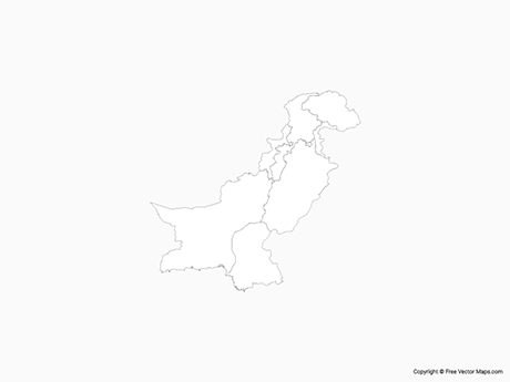 Free Vector Map of Pakistan with Provinces - Outline