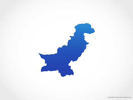 Free Vector Map of Pakistan - Blue