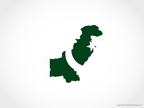 Free Vector Map of Pakistan - Flag