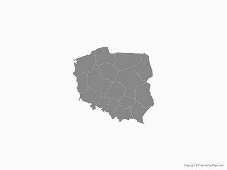 Free Vector Map of Poland with Provinces - Single Color