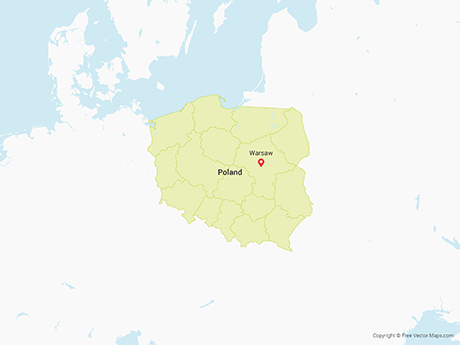 Free Vector Map of Poland with Provinces
