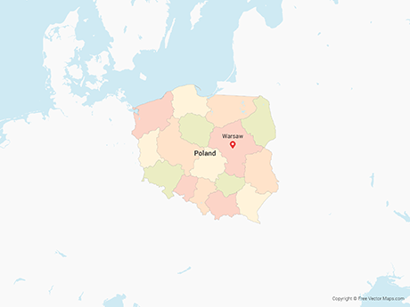 Free Vector Map of Poland with Provinces - Multicolor