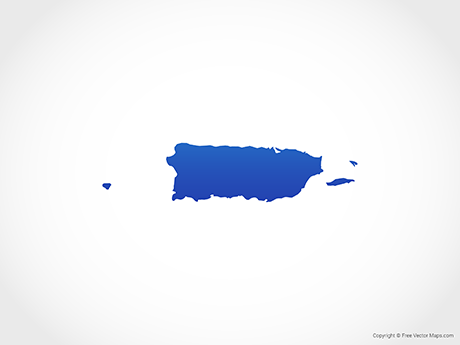 Free Vector Map of Puerto Rico - Blue