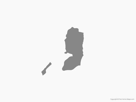 Free Vector Map of State of Palestine - Single Color