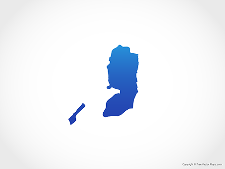 Free Vector Map of State of Palestine - Blue