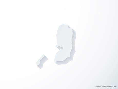 Free Vector Map of State of Palestine - 3D