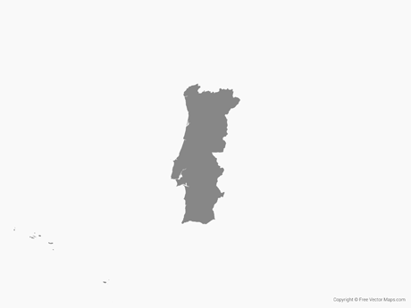 Free Vector Map of Portugal - Single Color