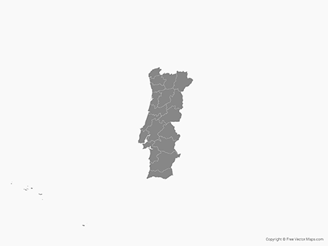 Free Vector Map of Portugal with Districts - Single Color