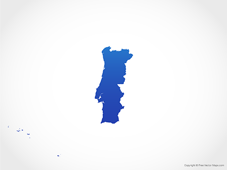 Free Vector Map of Portugal - Blue