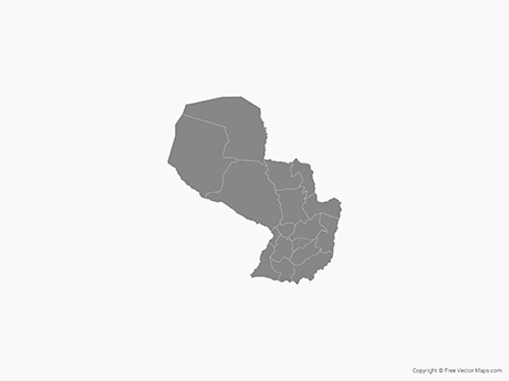 Free Vector Map of Paraguay with Departments - Single Color
